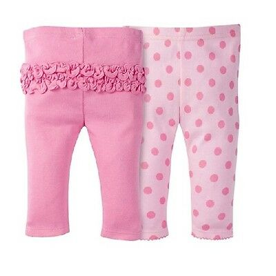 Gerber 2-Pk Girl Pink Dots Modern Fit Ruffled Pants Size 3-9M BABY CLOTHES GIFT