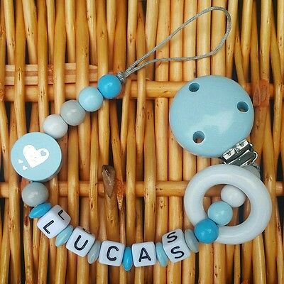 Baby boy personalized pacifier holder clip toy holder wooden baby shower gift
