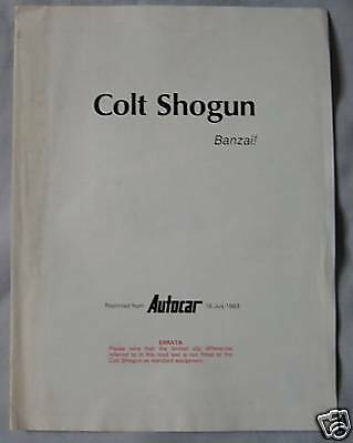 1983 Colt Shogun Reprinted Road test