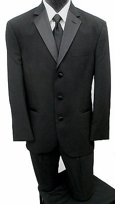 Formal Black Perry Ellis Tuxedo with Pants, Black Vest, & Tie *PROM SPECIAL* 40R