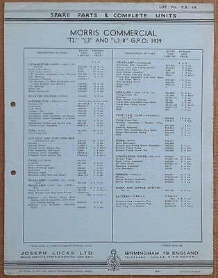 Morris T3 L3 and L3/8 GPO from 1939  Lucas Parts List 379  Others available