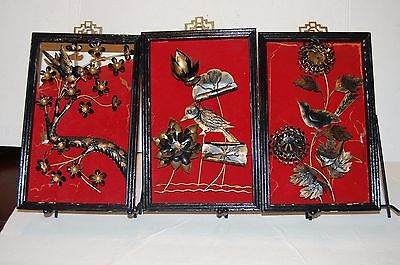 """3 Vintage CHINESE metal PANEL'S Wood FRAME Wall Hanging Art 3- 11"""" X 7"""" Inches"""