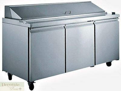 """SALAD SANDWICH PREP TABLE 70"""" REFRIGERATED 3 Door 30 Pans 15 Cu Ft Stainless New"""