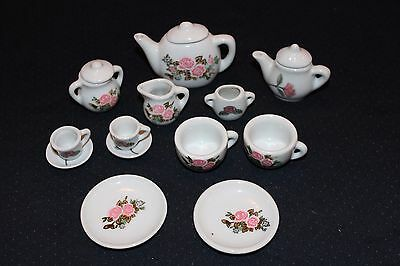 2 Miniature Pink Floral Tea Sets - 9 Pc and 7 Pc