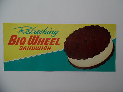c.1960 BIG WHEEL ICE CREAM SANDWICH Drive-In Sign National Biscuit Co Vintage VG