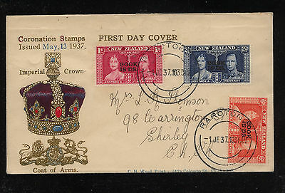 Cook  Islands  great color ad cover 1937 coronation crown in color   KL0228