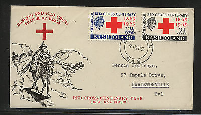 Basutoland  84-85 on cachet cover first day  1963    MS0701