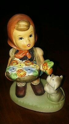 Beautiful Collectible 4 Inch NAPCOWARE Hummel Style Girl & Puppy Figurine