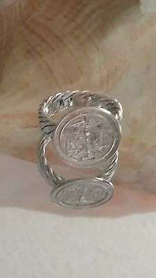 925 Solid Sterling Silver Handmade Zodiac Scale  Mexican Taxco Rope Ring SZ 7