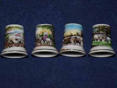Porcelain Thimbles-Lot of 4 -Collectables-COLONIAL, VICTORIAN SCENES