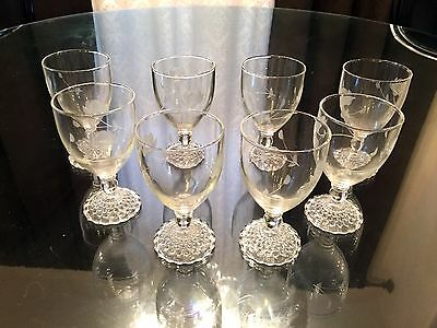 Set of 8 Small Etched Wine Glasses