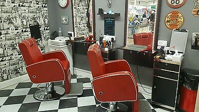 2 Red R.E.M Barber Barbershop Chairs - Free Local Delivery