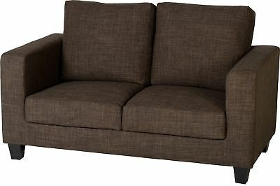 Two Seater Fabric Sofa in Modern Dark Brown -Brand New -4 Hour Delivery Timeslot