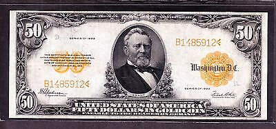 US 1922 $50 Gold Certificate FR 1200 VF-XF (-912)