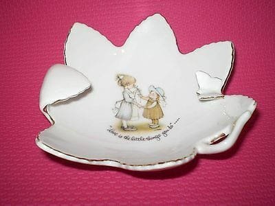 Collectable Vintage Holly Hobbie Porcelain Ashtray/trinket Dish With Butterfly