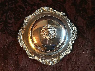 Vtg WALLACE  Baroque 244 Covered Butter dish w/ glass Insert & Felt Storage Bag