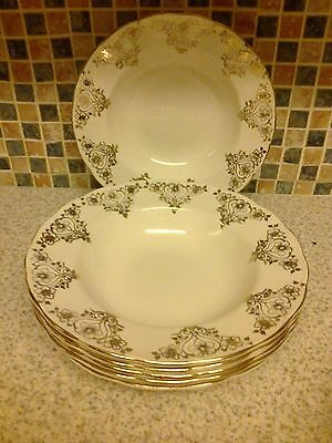 Grindley Cream Petal Gold Flowers By Alfred Clough Longton 6 X Rimmed Bowls