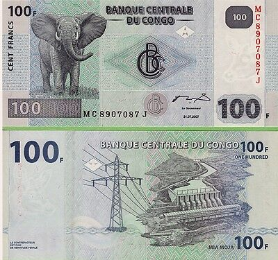 Congo   100 Francs    2007  P-98,    Unc  Banknote   Africa