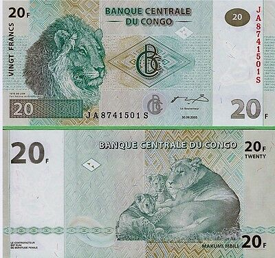 Congo   20 Francs    2003  P-94,    Unc  Banknote   Africa