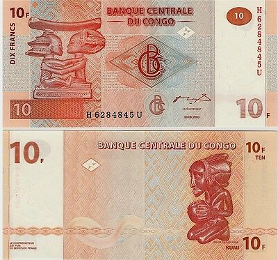 Congo   10 Francs    2003  P-93,    Unc  Banknote   Africa