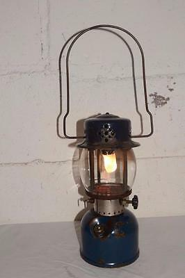 30s Vtg COLEMAN Blue 243A Single Mantle LANTERN Rare BRASS FOUNT Dated NOV. 1935