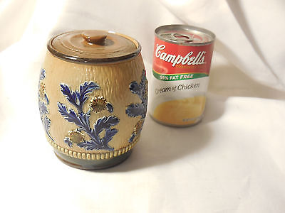Antique Doulton Lambeth Tobacco Jar Blue leaves Signed GG & P  Numbered