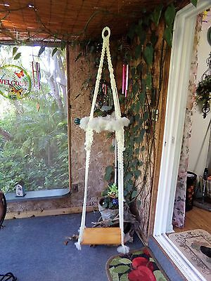 VIntage 6 Foot Tall Macrame With Wood Swing For Planter Decorative Porch