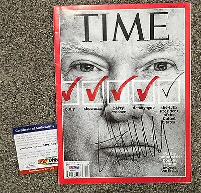 DONALD TRUMP SIGNED TIME MAGAZINE w/ PSA  COA !    MAGA  Inauguration Day! RARE!