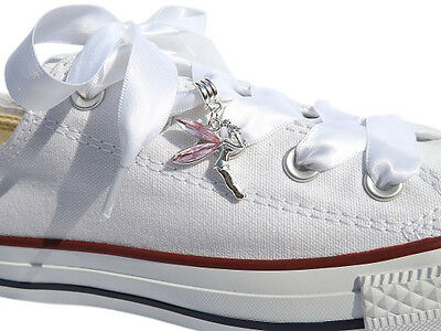 Tinkerbell Crystal Shoe Charms And a Ribbon Shoelaces for Ladies Girls Trainers