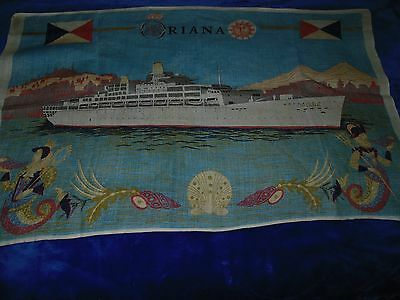 P&O SS Oriana Tea Towel - Good Condition for the Age - Was dispplayed on wall