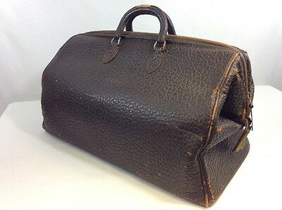 VINTAGE 1930s LEATHER DOCTORS BAG SUITCASE LUGGAGE CASE TRAVEL TOP GRAIN COWHIDE