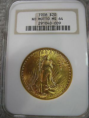 1908 No Motto $20 Gold Saint St. Gaudens Double Eagle NGC MS64 Philadelphia Mint