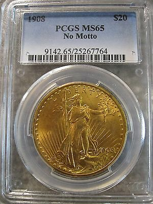 1908 No Motto $20 Gold Saint St. Gaudens Double Eagle PCGS MS65 Gem