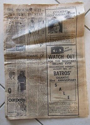 Mackay Daily Mercury newspaper pages August 13, 1969 - vintage, antique