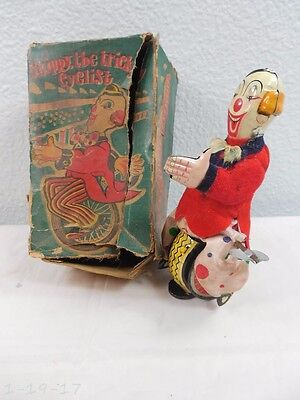 Vintage TPS Japan Skippy The Trick Cyclist Clown Wind Up With Box