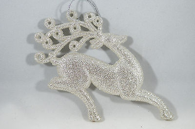 Champagne and Silver Glittered Deer Running Christmas Tree Ornament new holiday