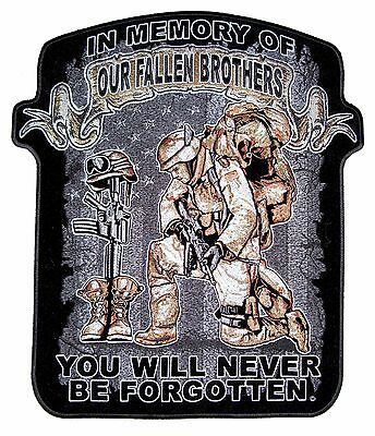 In Memory Of Our Fallen Brothers Patriotic Military Biker Patch Medium