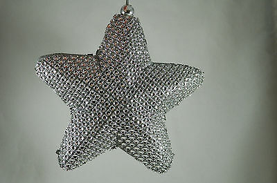 Silver Jeweled Star Christmas Tree Ornament new holiday