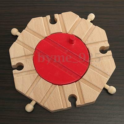 8 Way Wooden Railway Train Track Set Circular Turntable Educational Toys