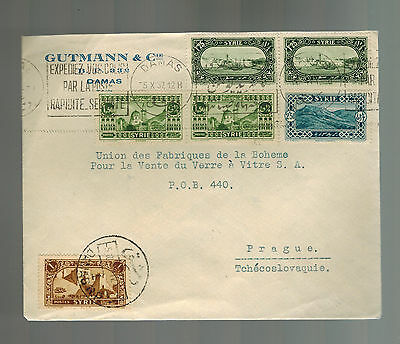 1937 Damascus Syria Cover to Prague Czehcoslovakia Gutmann & Co