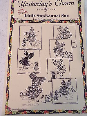 Yesterday's Charm Little Sunbonnet Sue Hot Iron Transfers Days Of The Week