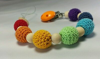 Beautiful baby pacifier holder clip rainbow wooden crochet beads unisex gift