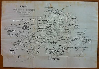 Original Map Charters Towers Goldfield Queensland Showing Mining Leases 1902
