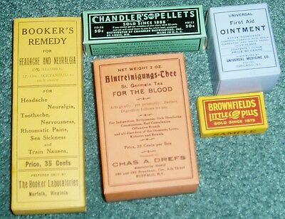 1900-1940's MEDICAL CURE BOXES COUNTRY STORE BATHROOM DISPLAY