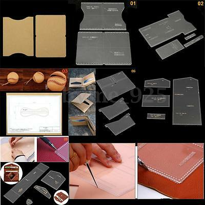9 Types Acrylic Leather DIY Craft Wallet Case Stencil Template for Leathercraft
