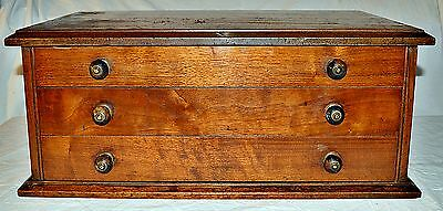 19th Century Mahogany Table-Top Collectors Chest of Three Drawers