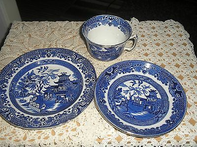Blue And White Burleigh Ware Willow Pattern Trio Tea Cup Saucer and Side Plate