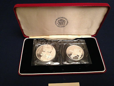1974 Iceland 2 Silver Proofs Commemorating 1100th Anniversary of Iceland KM-PS2