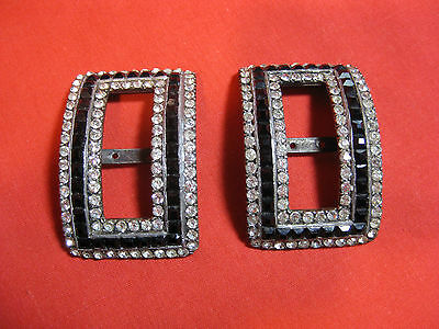 Antique Shoes Buckles With Rhinestones And Black Jet