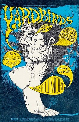 MINT Yardbirds 1968 BG 121 SHOW BACK Fillmore Handbill